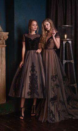 Эффектное вечернее платье-миди с пышной юбкой