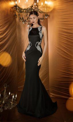 Черное вечернее платье с серебром