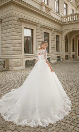 свадебное платье с кружевными рукавами три четверти