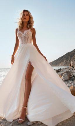 Чувственное свадебное платье с открытой спинкой