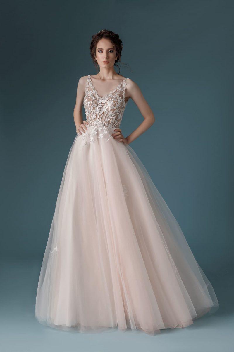 платье А-силуэта оттенка розовой пудры