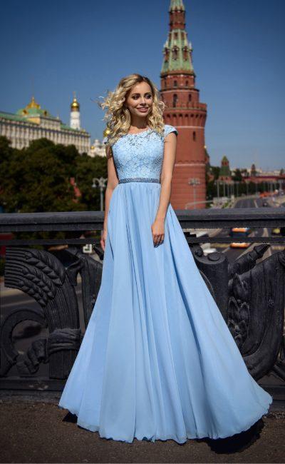 Выпускное голубое платье