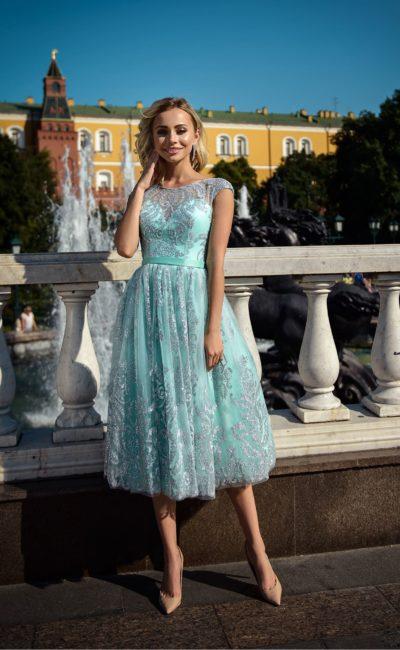 Короткое бирюзовое выпускное платье