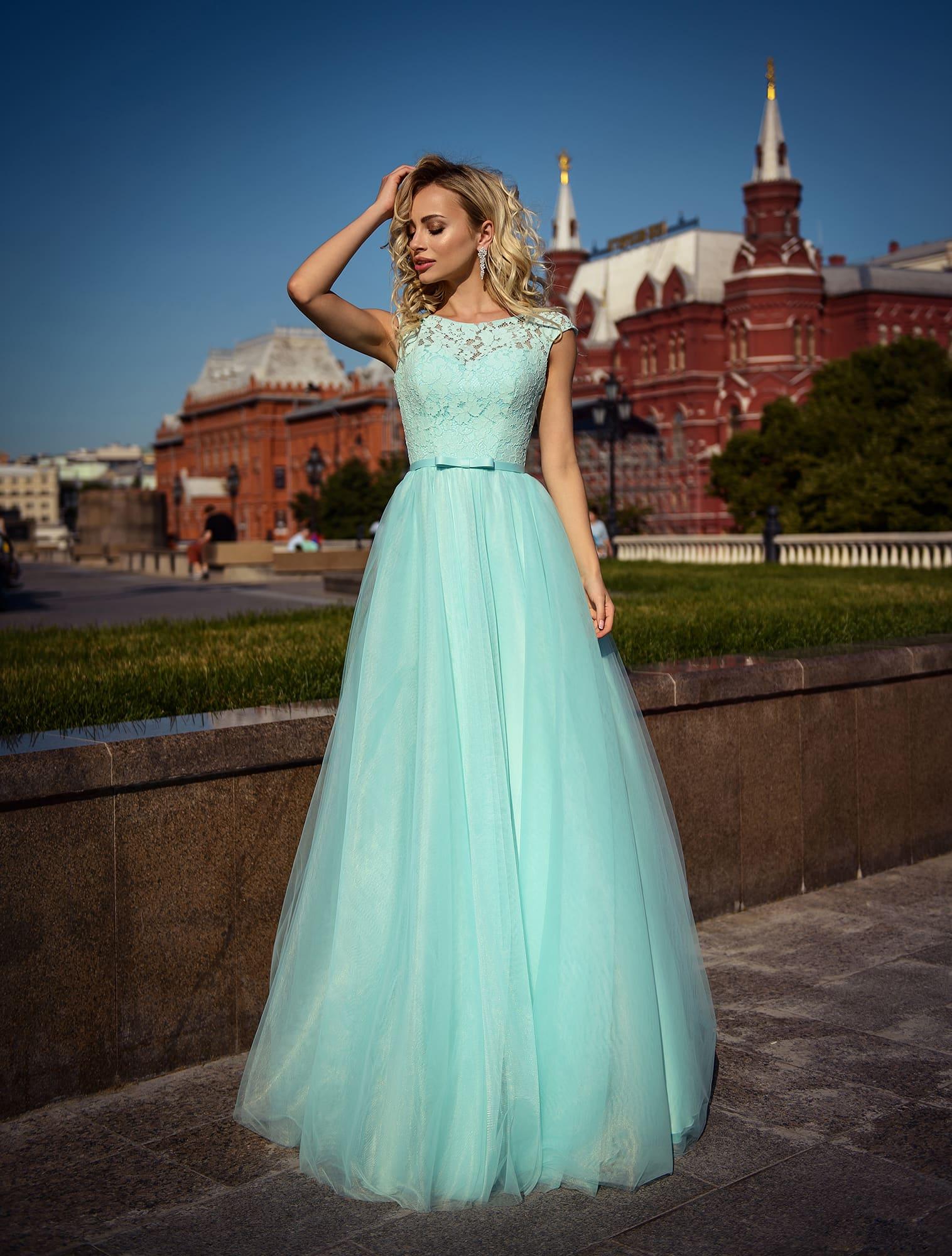 7f0576b3a1c878c Бирюзовое платье в пол Prestige VV082 ▷ Свадебный Торговый Центр Вега в  Москве