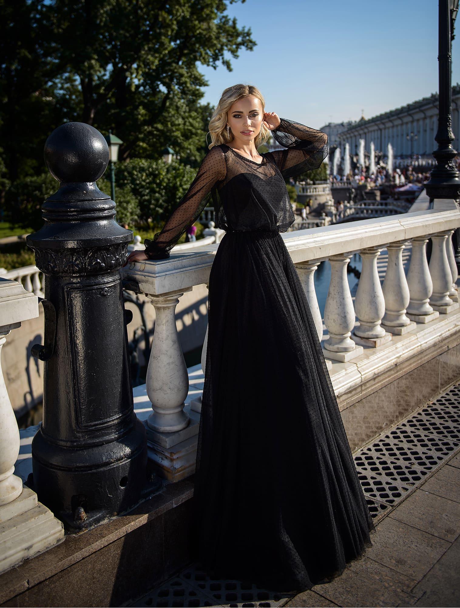 84f78ab5c70 Черное вечернее платье в пол с рукавом Prestige VV084 ▷ Свадебный Торговый  Центр Вега в Москве