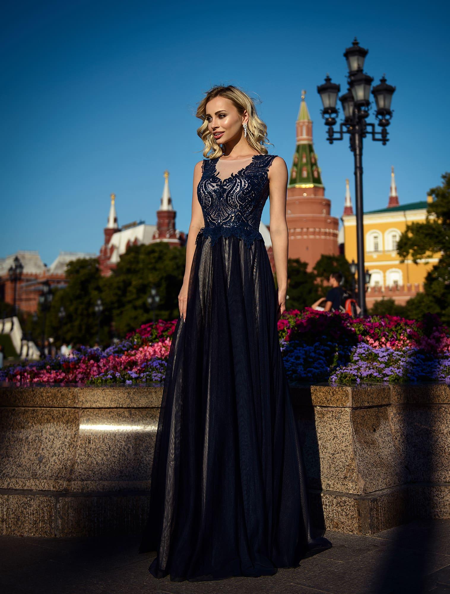 8e83800efe5 Темно-синее платье в пол Prestige VV085 ▷ Свадебный Торговый Центр Вега в  Москве