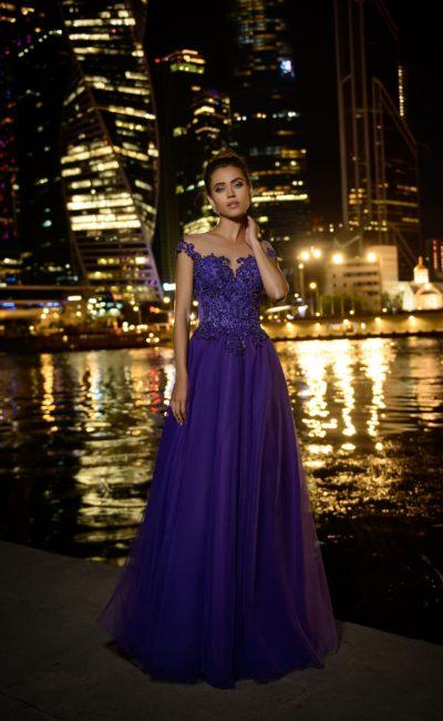 Сиренево-фиолетовое вечернее платье в пол