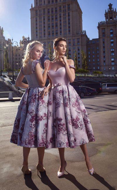 коктейльное платье розовато-лилового оттенка