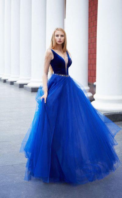 Синее праздничное платье