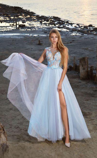 Голубое выпускное платье в пол