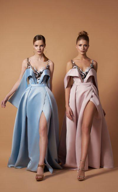 вечернее платье в нежно-голубом цвете