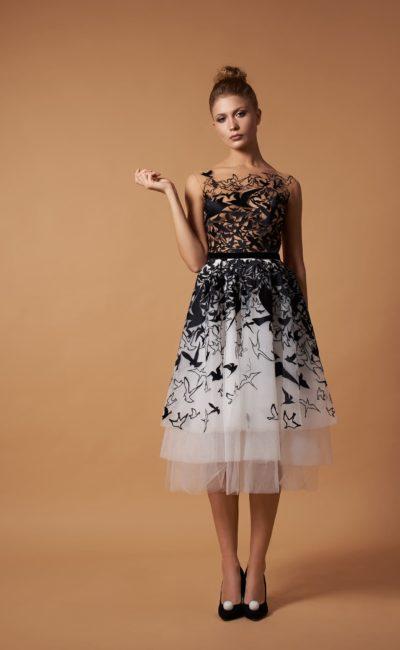 Контрастное вечернее платье-миди