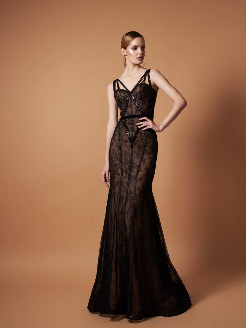 вечернее платье силуэта «русалка» черного цвета