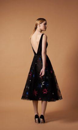 Вечернее платье-миди из черного фатина