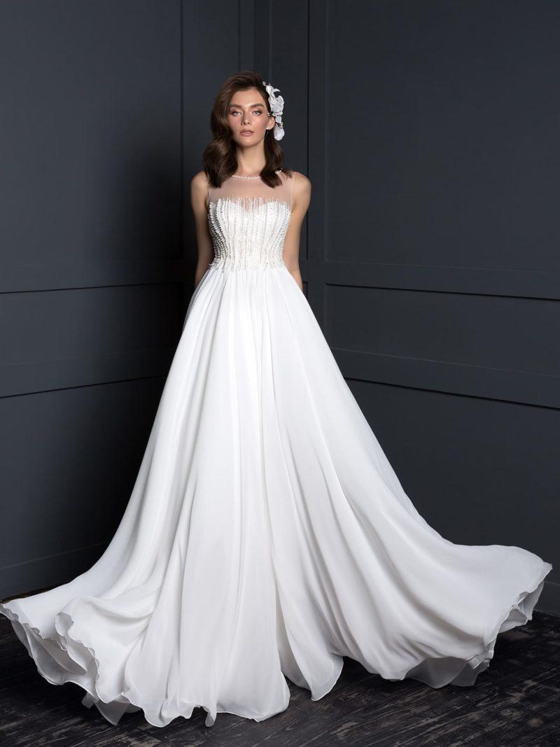 свадебное платье с чуть завышенной линией талии