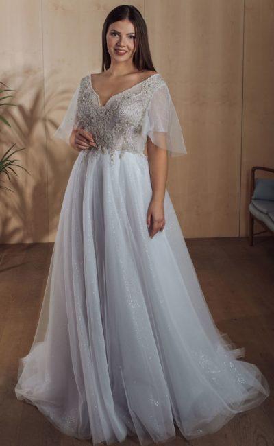 Легкое свадебное платье пепельно-голубого оттенка