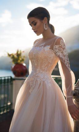 Свадебное пудровое платье