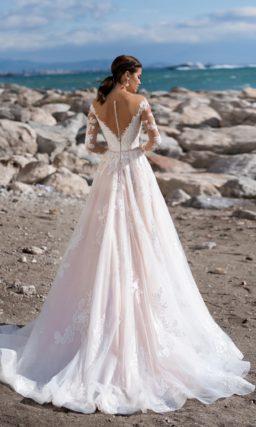 свадебное платье А-силуэта деликатного персикового оттенка