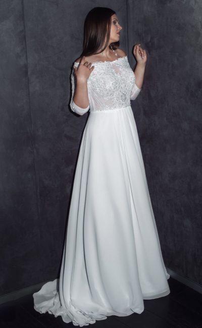 Свадебное греческое платье с высокой талией