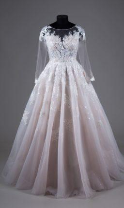 свадебное платье в нежном розово-пудровом оттенке