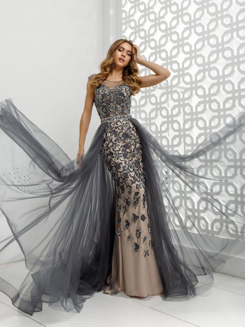 Длинное черно-бежевое вечернее платье