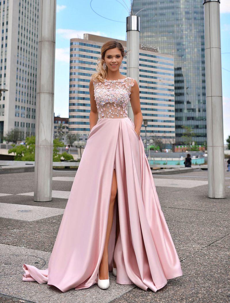 Розовое выпускное платье