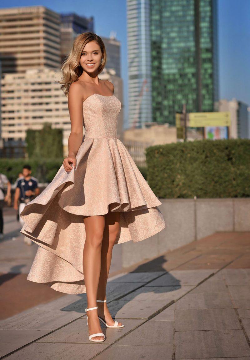 Коктейльное платье укороченное спереди