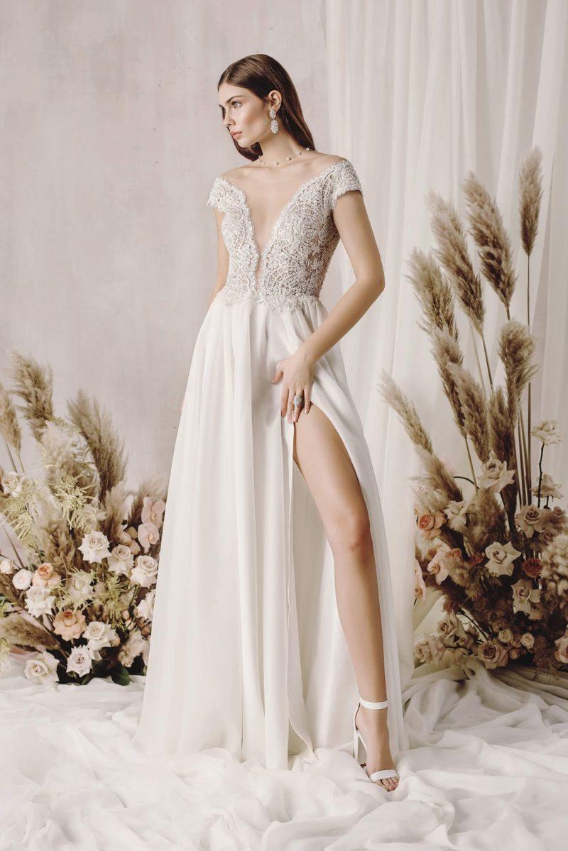 Летнее свадебное платье цвета айвори