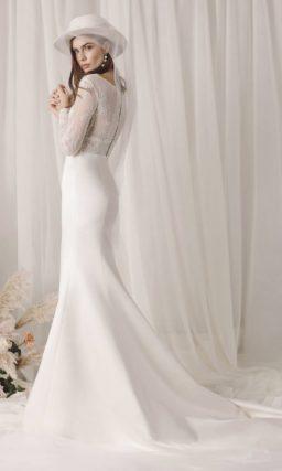 Пудровое свадебное платье «русалка»
