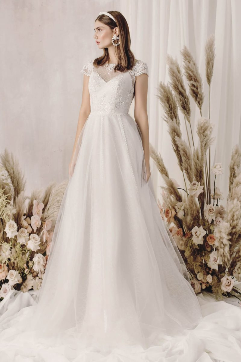 Нежное свадебное платье из воздушного шифона
