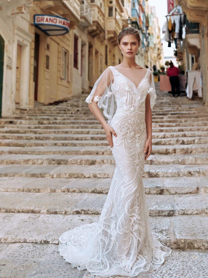 Свадебное платье «русалка» светлого оттенка айвори