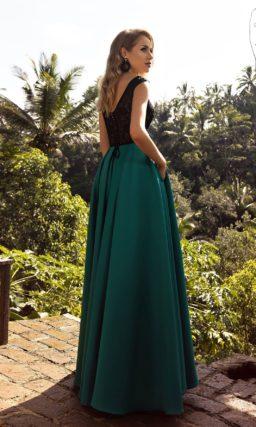 платье в пол с ажурным верхом