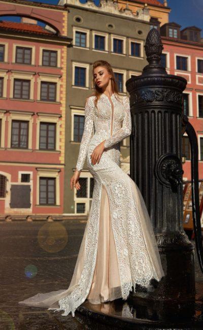 платье силуэта русалка из кружева цвета айвори