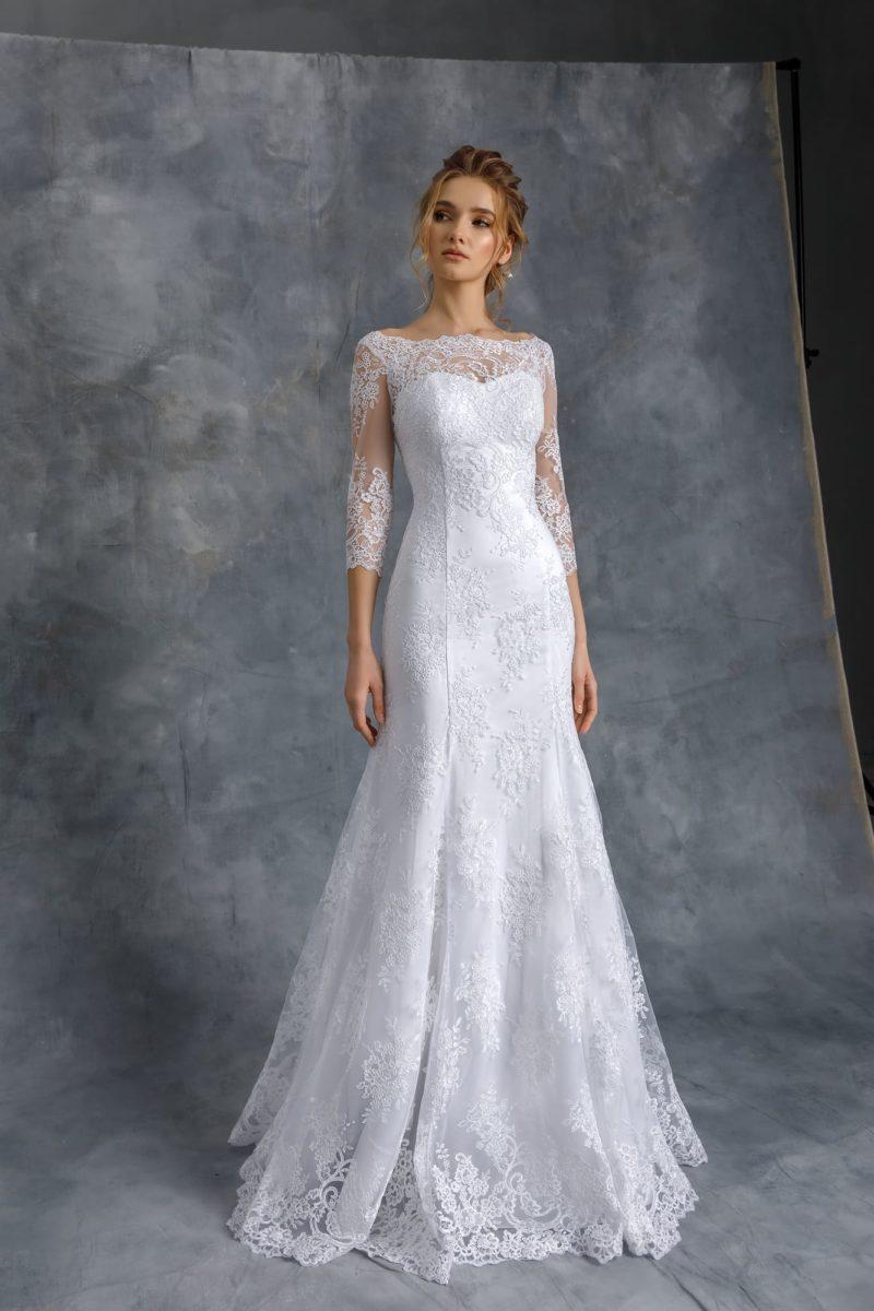 Кружевное свадебное платье годе