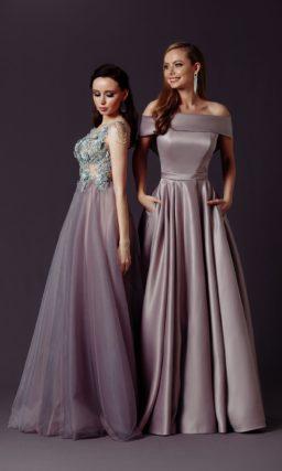 Длинное платье из атласа