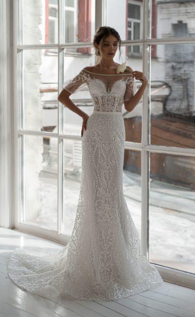 Платье «русалка» из кружевной ткани