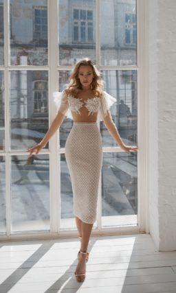Стильное укороченное свадебное платье