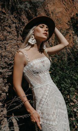 свадебное платье силуэта русалка из кружева