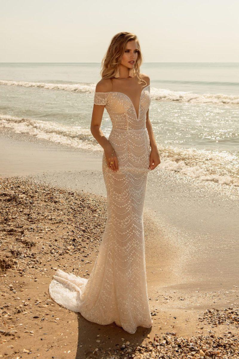 Свадебное платье русалка оттенка айвори