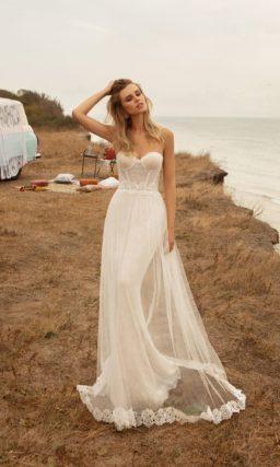 Свадебное платье русалка с верхней юбкой