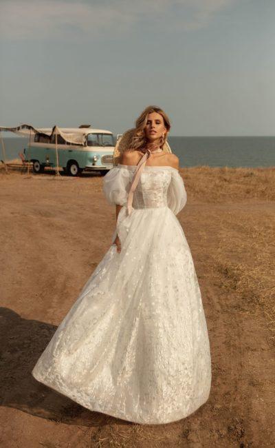 Пышное свадебное платье из органзы