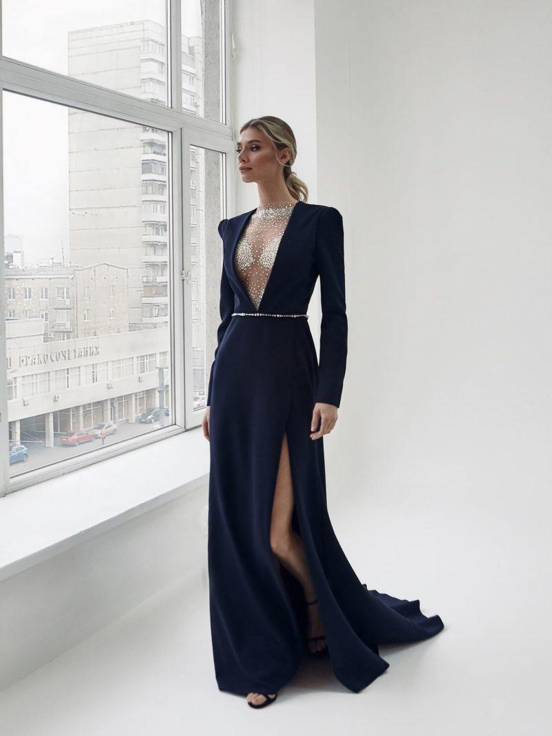 Свадебное синее платье из плотного крепа