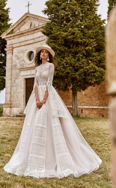 свадебное платье из плетеного кружева