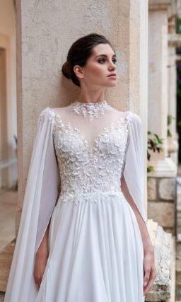 свадебное платье с прямой струящейся юбкой