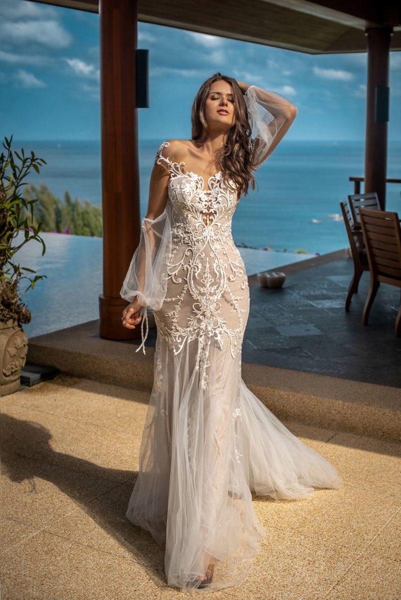 Легкое свадебное платья кроя рыбка