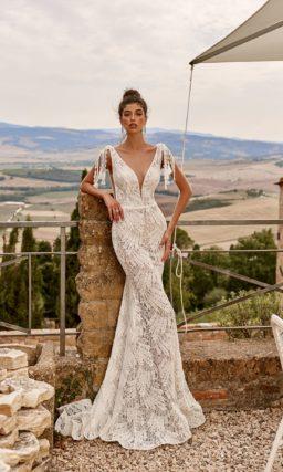 свадебное платье кроя рыбка из кружева