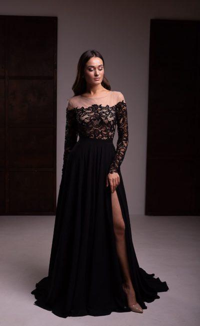 Вечернее платье с нюдовым верхом