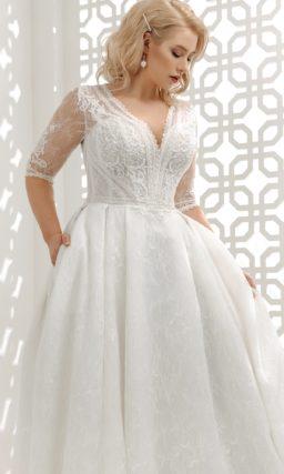 Ажурное свадебное платье в оттенке айвори