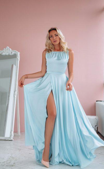Греческое платье голубого оттенка