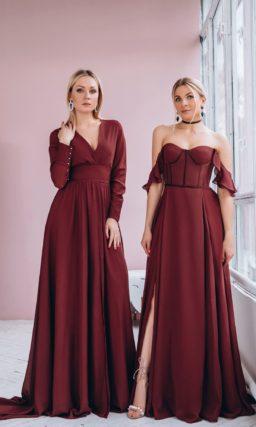платье в пол винного оттенка